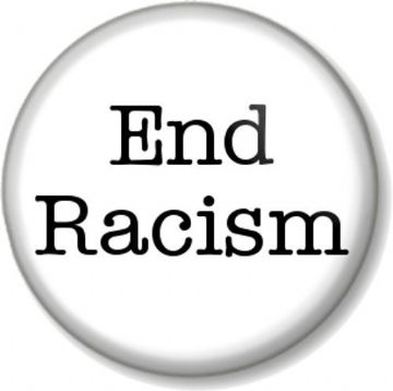 End Racism Pinback Button Badge Political Protest Equal Rights Activist - White